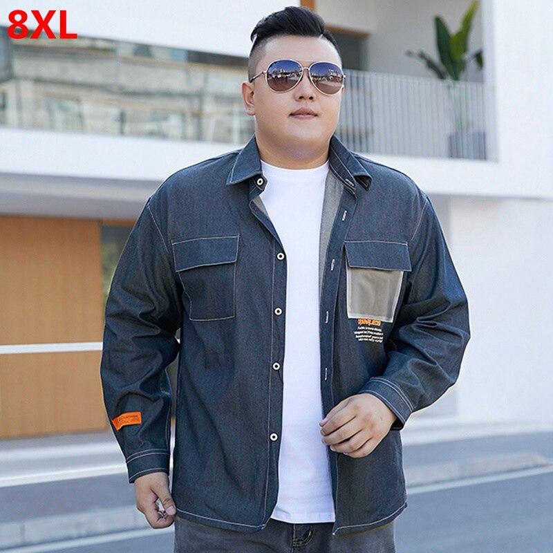 Camisa de manga larga vaquera Retro de primavera para hombre, camisa holgada de talla grande 8XL, camisa de vestir 7XL para hombre