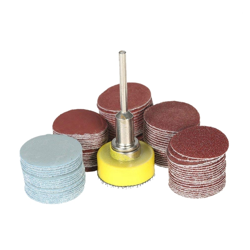 100Pcs 25Mm 1 Inch Sander Disc Sanding Disk 100-3000 Grit Paper With 1Inch Abrasive Polish Pad Plate + 1/8 Shank For Dremel