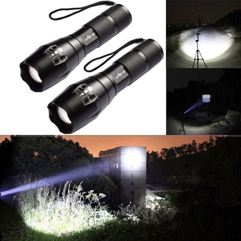 1 Pcs Portable T6 Tactical Military LED Flashlight 980000LM Zoomable 5-Mode Without Battery Outdoor Lighting For Hiking Camping