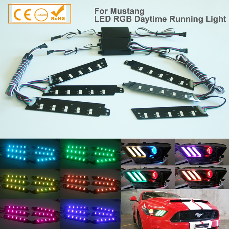 1 Set RGBW Multicolor LED DRL Board Lighting Kit For 2015-2017 Ford Mustang, Smartphone Remote Controlled