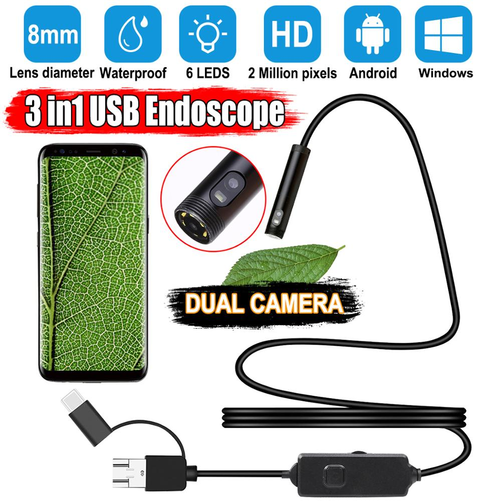 2021 Newest Dual Lens Endoscope 2MP 1080P HD For USB-C Android Phone Camera 8mm Waterproof Head With Light Borescope