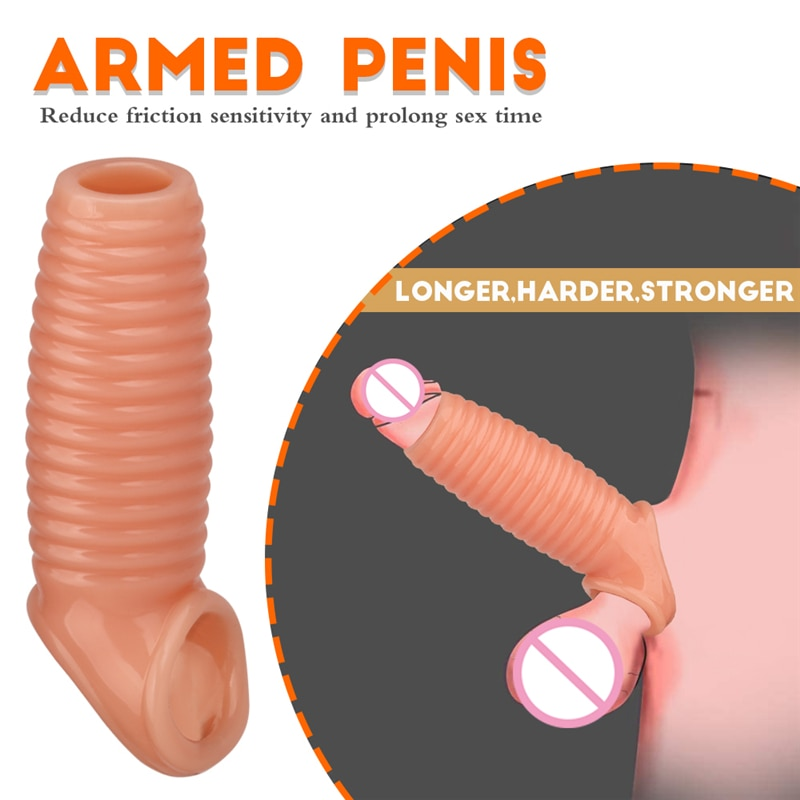 Men Delay Lock Sperm Fine Condom Threaded Enhancer Penis Ring Extender Sleeve Erection Dick Cock Ring Sex Toys For Men Intimate 12 speeds dildo double sexual products for husband and wife of durable vibration condom for men with lock sperm ring for women