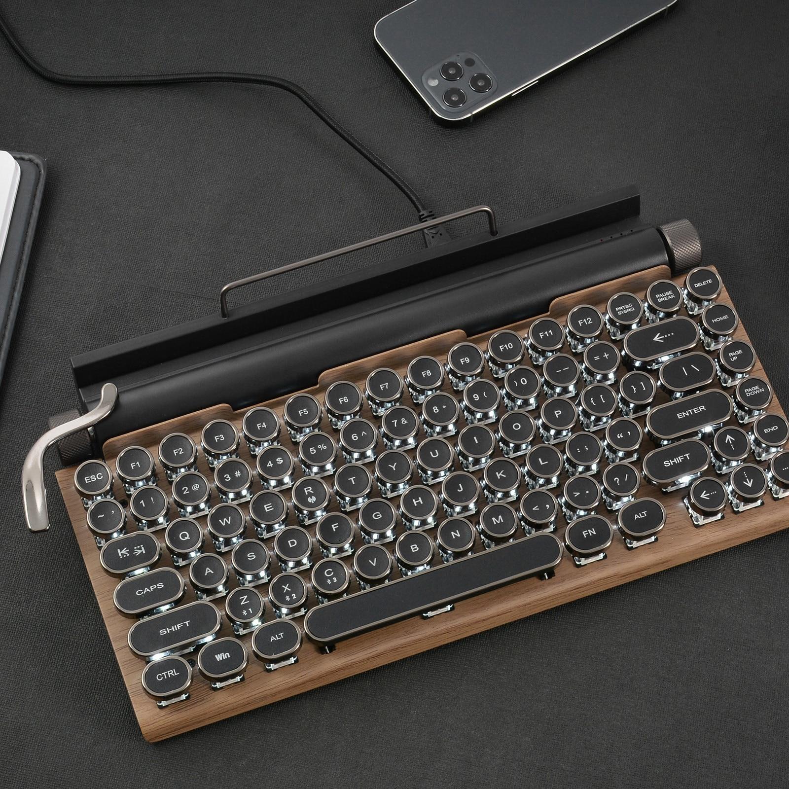 لوحة المفاتيح الميكانيكية سماعة لاسلكية تعمل بالبلوتوث لوحات المفاتيح نقطة الرجعية آلة كاتبة لوحة مفاتيح الكمبيوتر 83 مفاتيح لوحات مفاتيح ا...