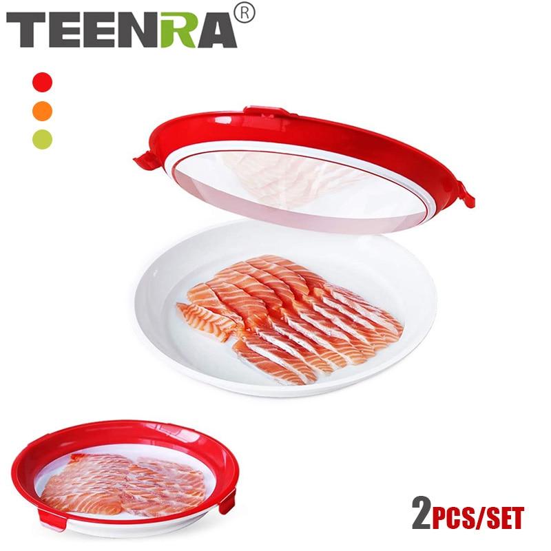 TEENRA 2 قطعة جولة حفظ الأغذية صينية المطبخ الغذاء حفظ الطازجة تخزين الحاويات الإبداعية تكويم الغذاء صينية جديدة