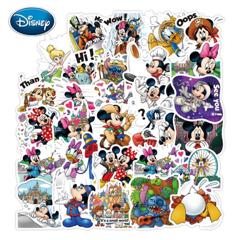 Disney 40 Uds dibujos animados Mickey Minnie pegatina Mickey Mouse protector solar impermeable maleta guitarra cuaderno carro pegatina coche Set