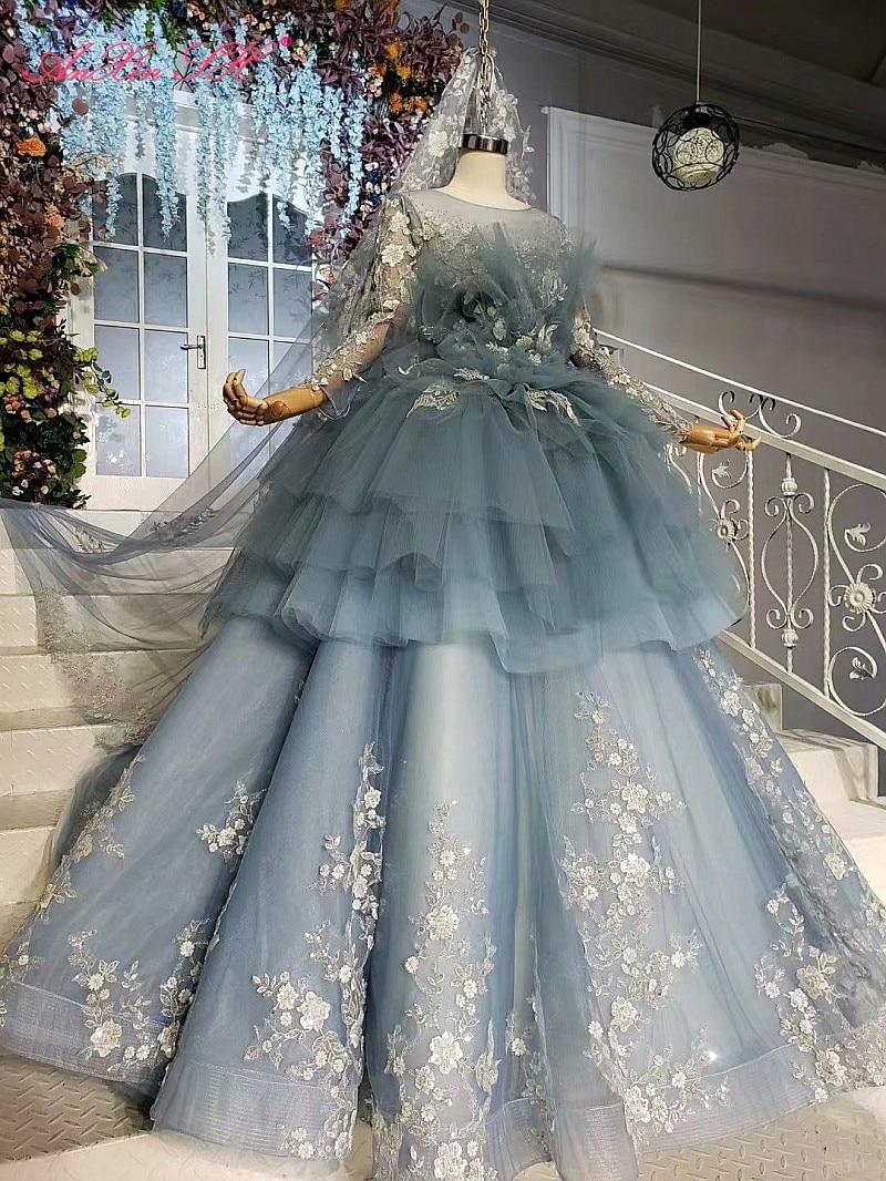 AnXin SH-فستان زفاف مع انتفاضات ، أميرة فاخرة ، نمط زهرة ، دانتيل أزرق ، رقبة دائرية ، خرز كريستالي ، وهم طويل الأكمام ، صورة حقيقية 100%
