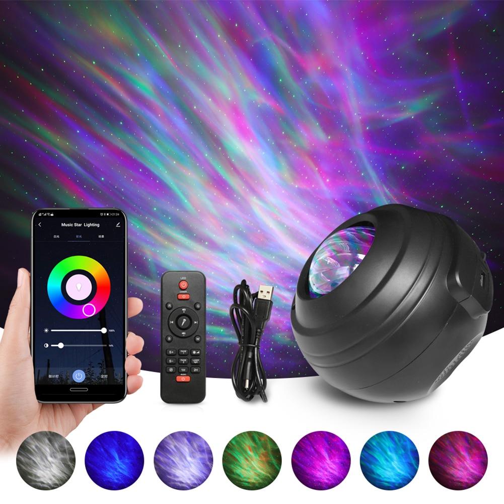 النجوم السماء غالاكسي العارض ضوء الليل USB الموسيقى مصباح بلوتوث متوافق المياه نمط ضوء المنزل نادي نادي بار الديكور