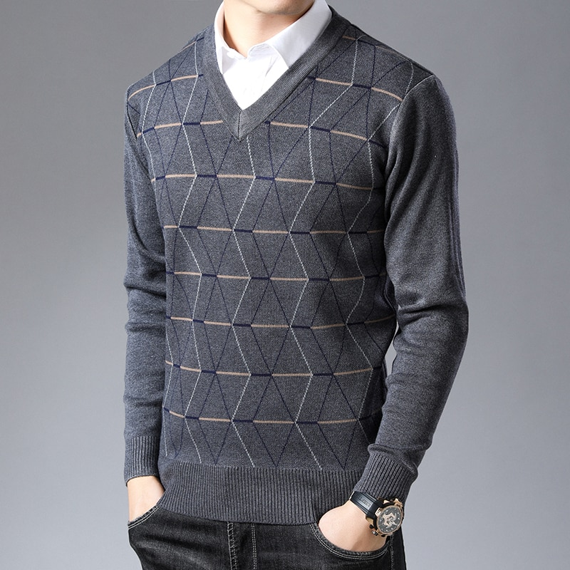 Nouveau chandail de marque de mode pour hommes pulls col en V coupe ajustée pulls tricot épais chaud automne Style coréen vêtements de sport hommes