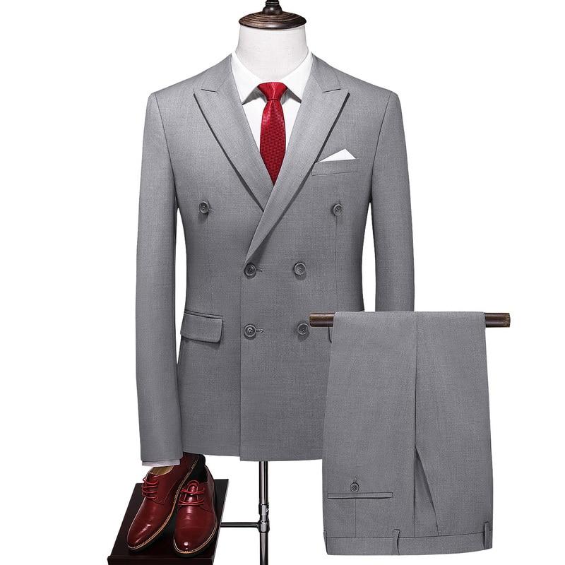 6XL (جاكيت + بنطلون) بدلة رجالي بأزرار مزدوجة الصدر طقم بدلة رجالي سادة بدلة زفاف رجالي مقاس ضيق بدلة سهرة