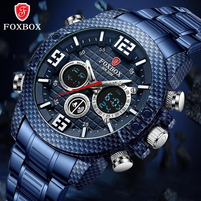LIGE العلامة التجارية Foxbox ألياف الكربون قضية الرياضة رجالي ساعات فاخرة كوارتز ساعة اليد للرجال العسكرية مقاوم للماء ساعة رقمية