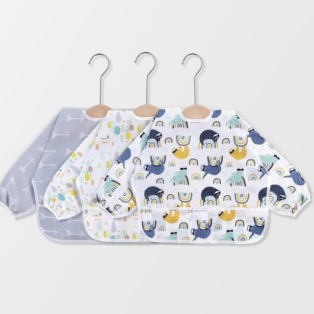 Baby Bibs Baby Waterproof Full Sleeve Bibs Cartoon Animal Child Long Sleeve eating tools Apron Coverall Feeding Bibs 10