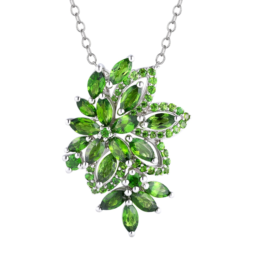 Promo GZ ZONGFA High Quality Natural Chrome Diopside Gem Jewelry Accessories Sterling Silver 925 Pendant Necklace
