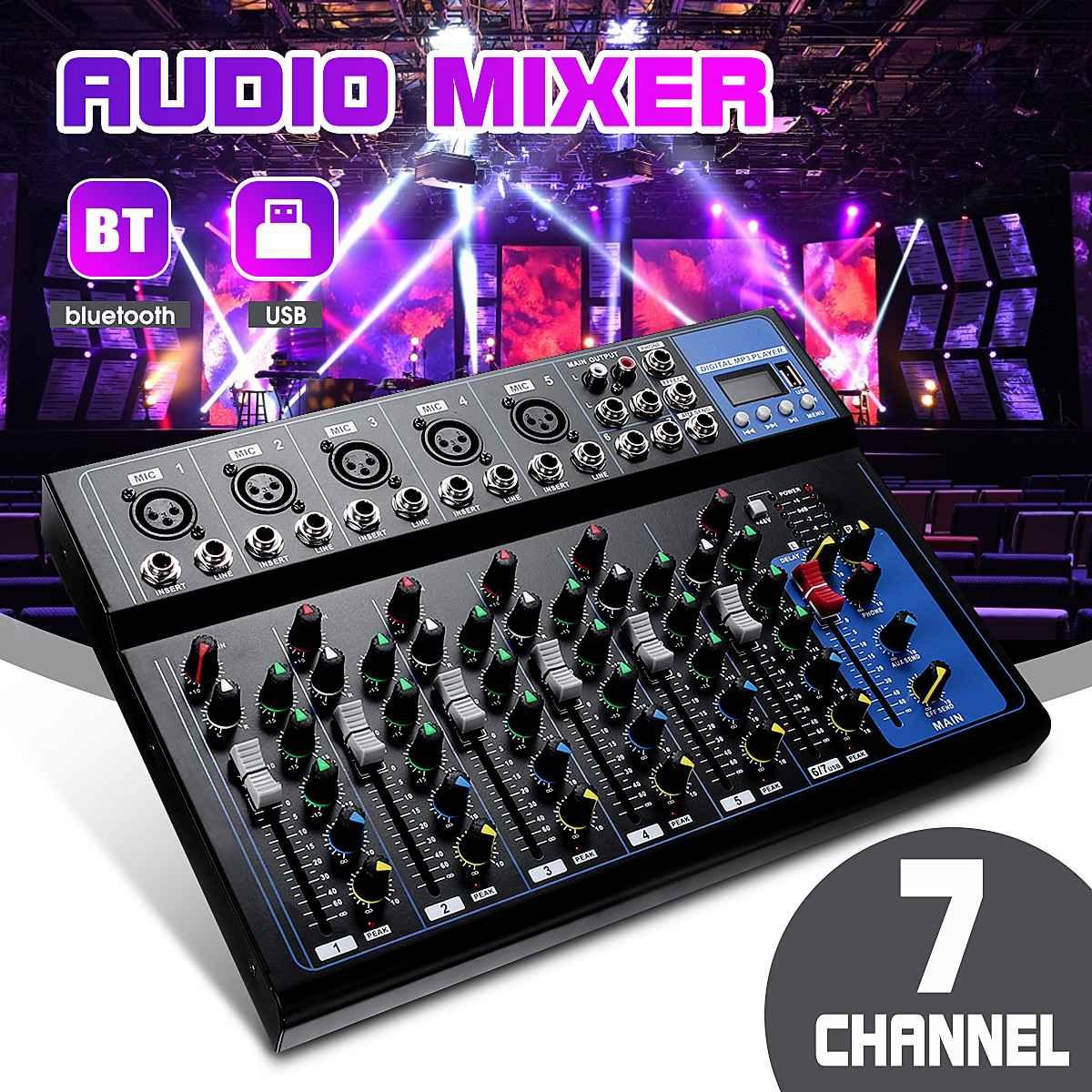 LEORY Bluetooth Audio Mixer w/USB DJ Sound Mixing Console MP3 Jack 7 Channel Karaoke 48V Amplifier Karaoke KTV Match Party