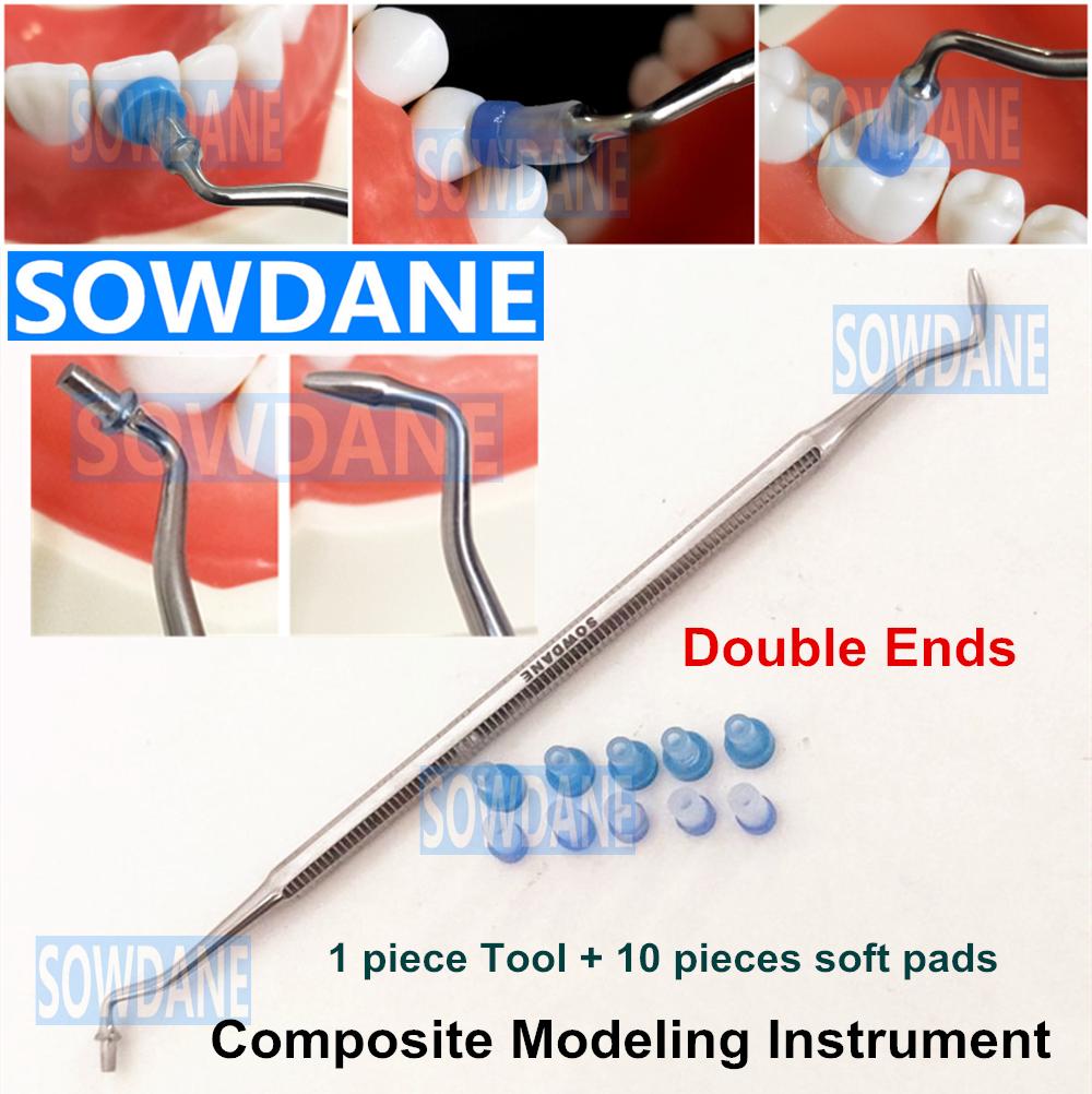 Dental Resin Composite Trimmer Spatula Dental Contact Shape Former with Caps Composite Modelling Instrument Filling Filler