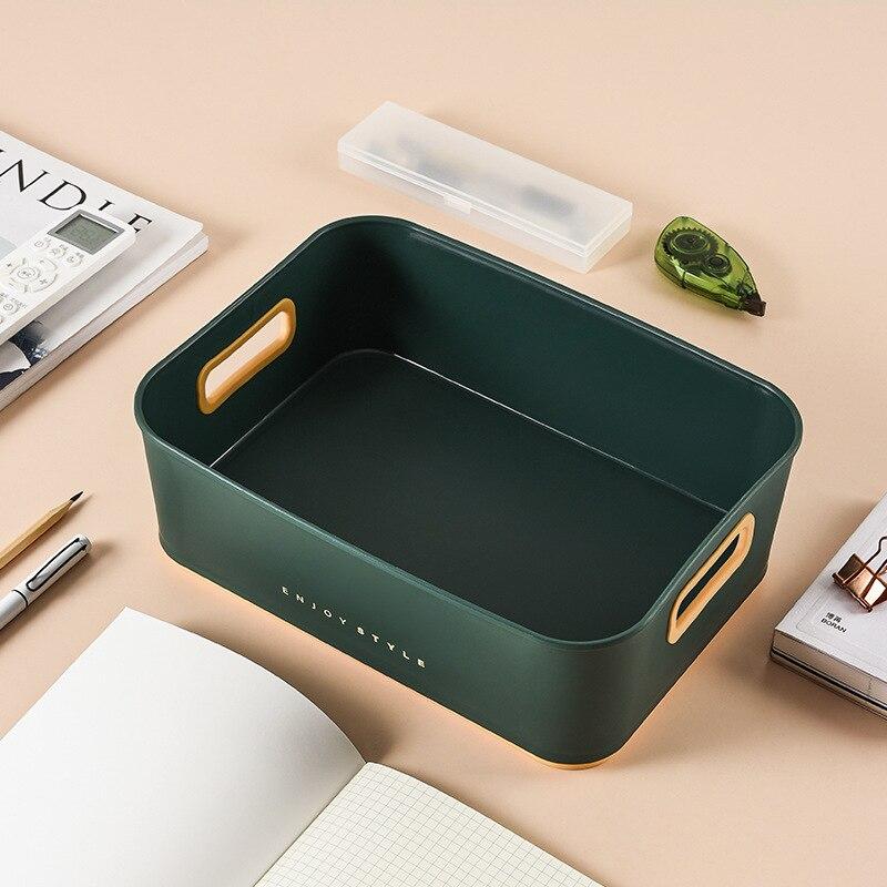 Cestas de almacenamiento modernas para el hogar, cajón de plástico verde, caja...