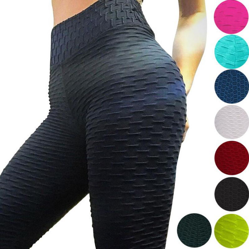 2021  Yoga Pants Fitness Sports Leggings Jacquard Sports Leggings Female Running Trousers High Waist Yoga Tight Sports Pants