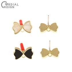 Design cordial 100 peças 9*14mm jóias acessórios/brincos parafuso prisioneiro/bowknot forma/feito à mão/diy fazendo/joias descobertas & componentes