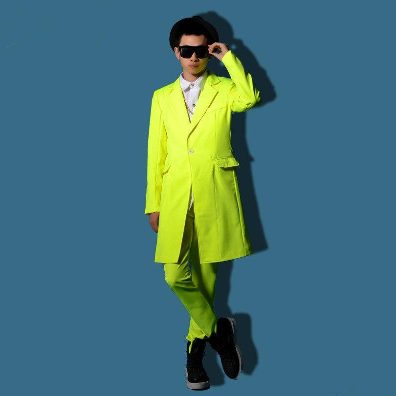 slim star show male costume for singer dancer performance Yellow long jacket outwear coat nightclub bar groom men bar fashion