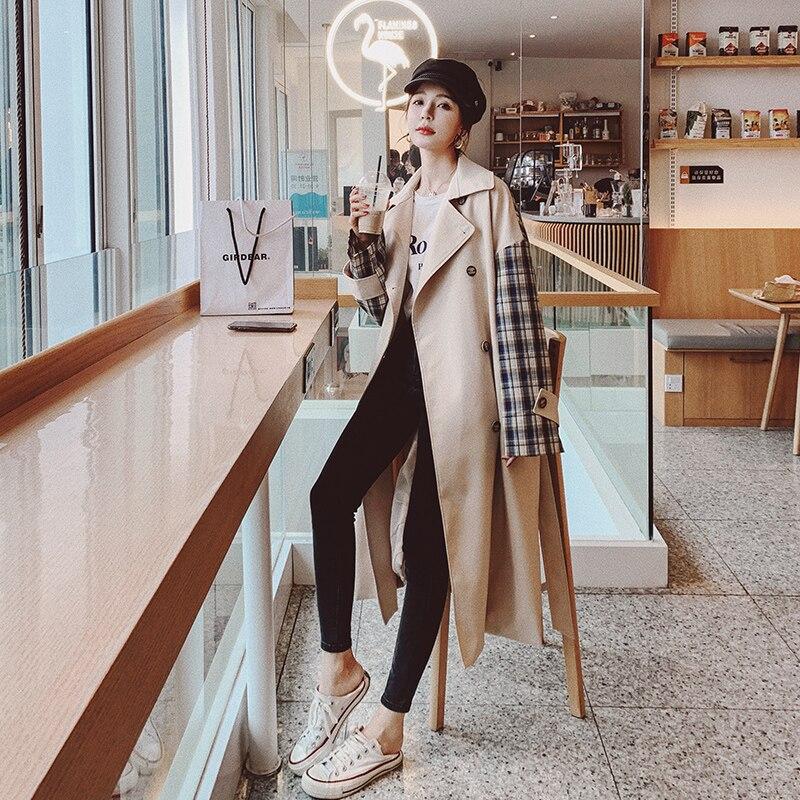 جديد تماما مزدوجة الصدر طويل المرأة خندق معطف مع حزام سيدة سترة واقية منفضة معطف الإناث ملابس خارجية الربيع الخريف الملابس