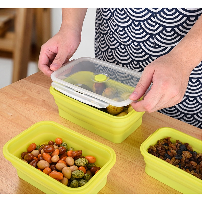 Contenedor de alimentos para el hogar de 4 tamaños Caja de bento rectangular portátil de silicona con sello de comida Caja de almuerzo ecológica plegable para acampar al aire libre