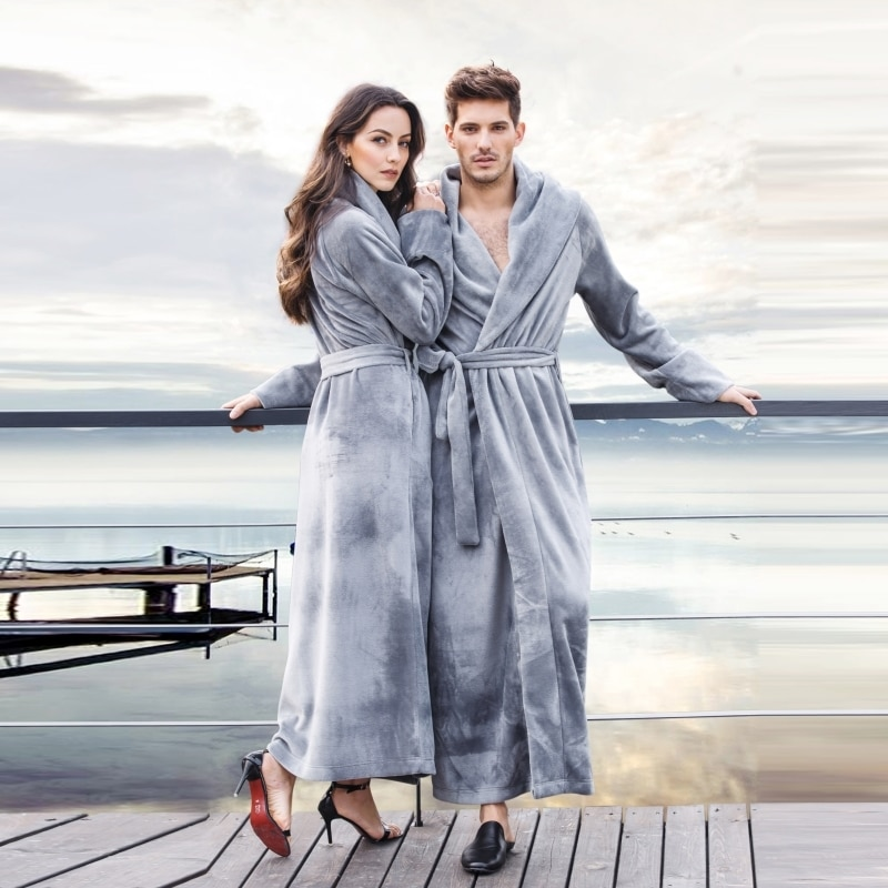 Men's and Women's Long Robes Soft Plush Floor- Length Plus Size Bathrobe Fuzzy Sleepwear Loungewear Nightgown Warm House Coat