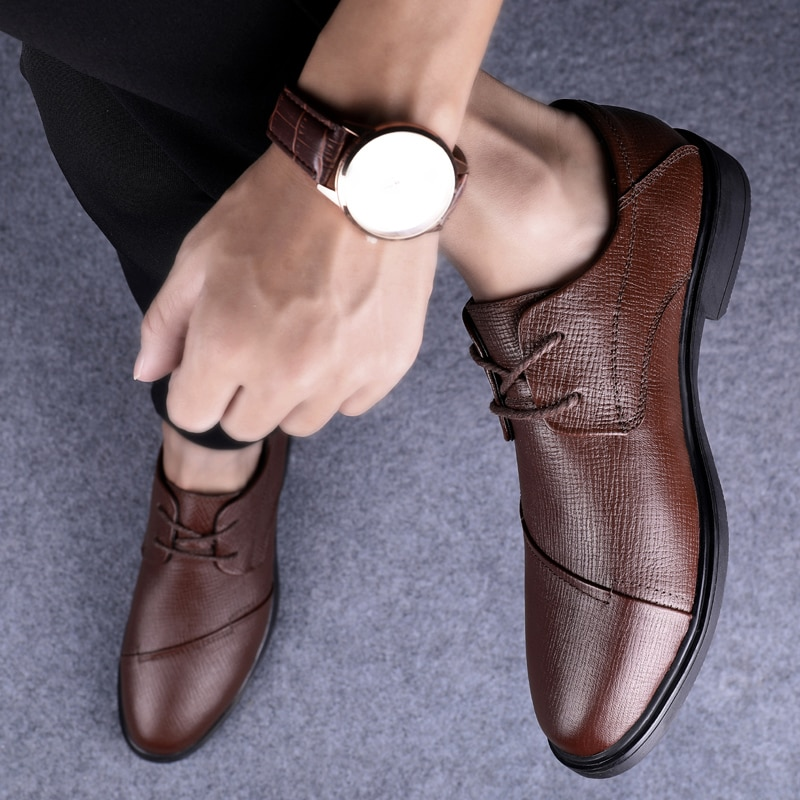 2021 Style Fashion Men's Shoes Derby Genuine Leather Male Classic Brown Black Lace Up Party Shoe Man Office Formal Shoes For Men