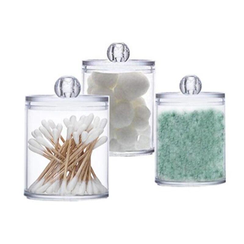 3 Pcs/set Storage Box Bathroom Organizer Round Plastic Box Transparent Food Jar Cosmetic Cotton Swab Cosmetic Storage Box