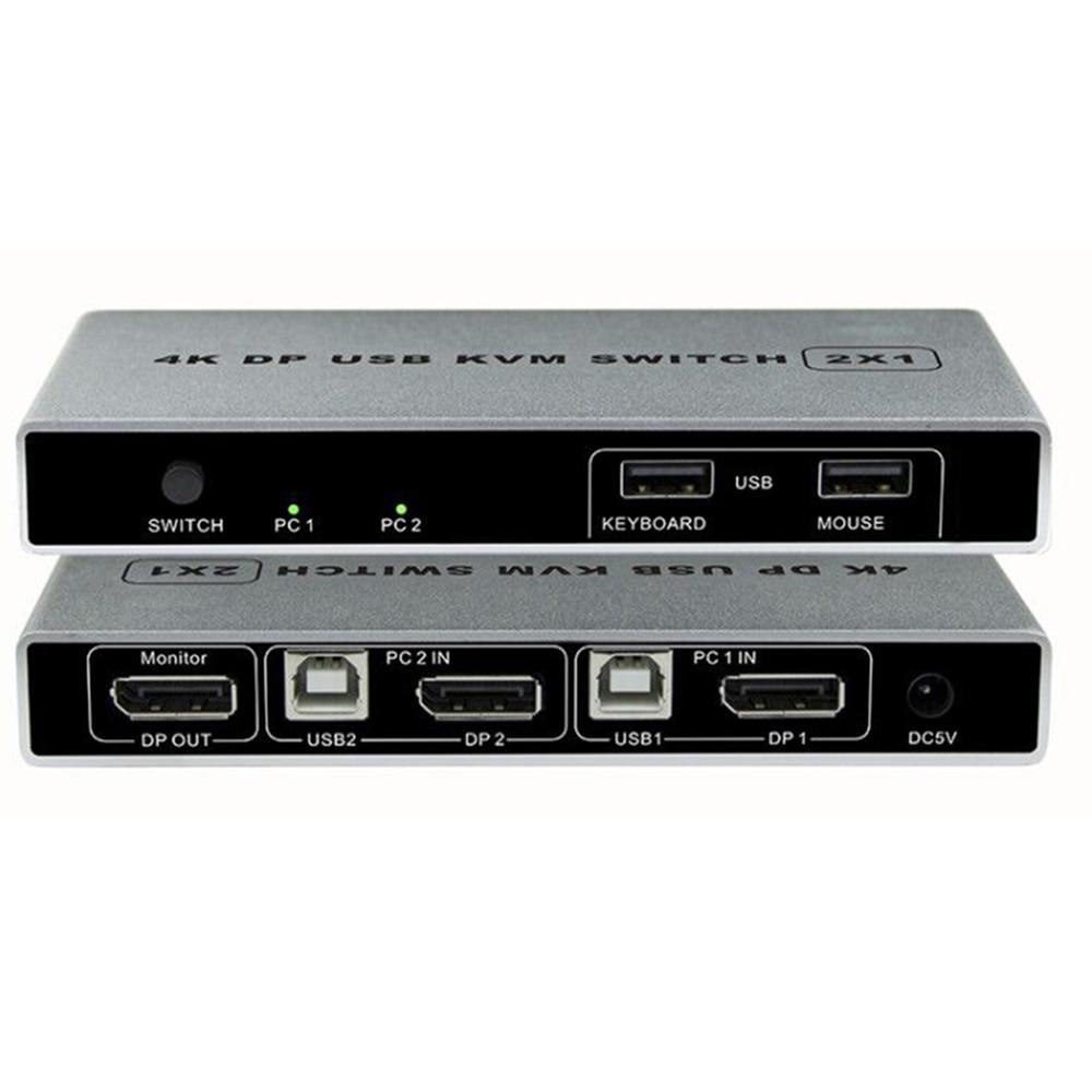 Dual-port Displayport KVM Switch USB Displayport KVM 144Hz DP Switcher 4KX2K/60Hz 2K/144Hz Displayport 2 in 1 out KVM USB
