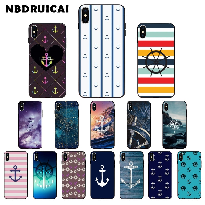 NBDRUICAI rayas ancla barco rueda de alta calidad funda de teléfono para iPhone 11 pro XS MAX 8 7 6 6S Plus X 5 5S SE XR funda