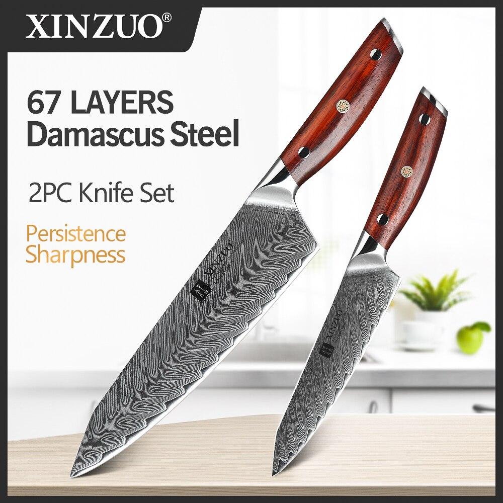 Cuchillo de carnicero Juego de cuchillos de cocina XINZUO de 2 piezas, cuchillo de cocina de acero inoxidable Cuchillo de pelado de frutas estilo japonés