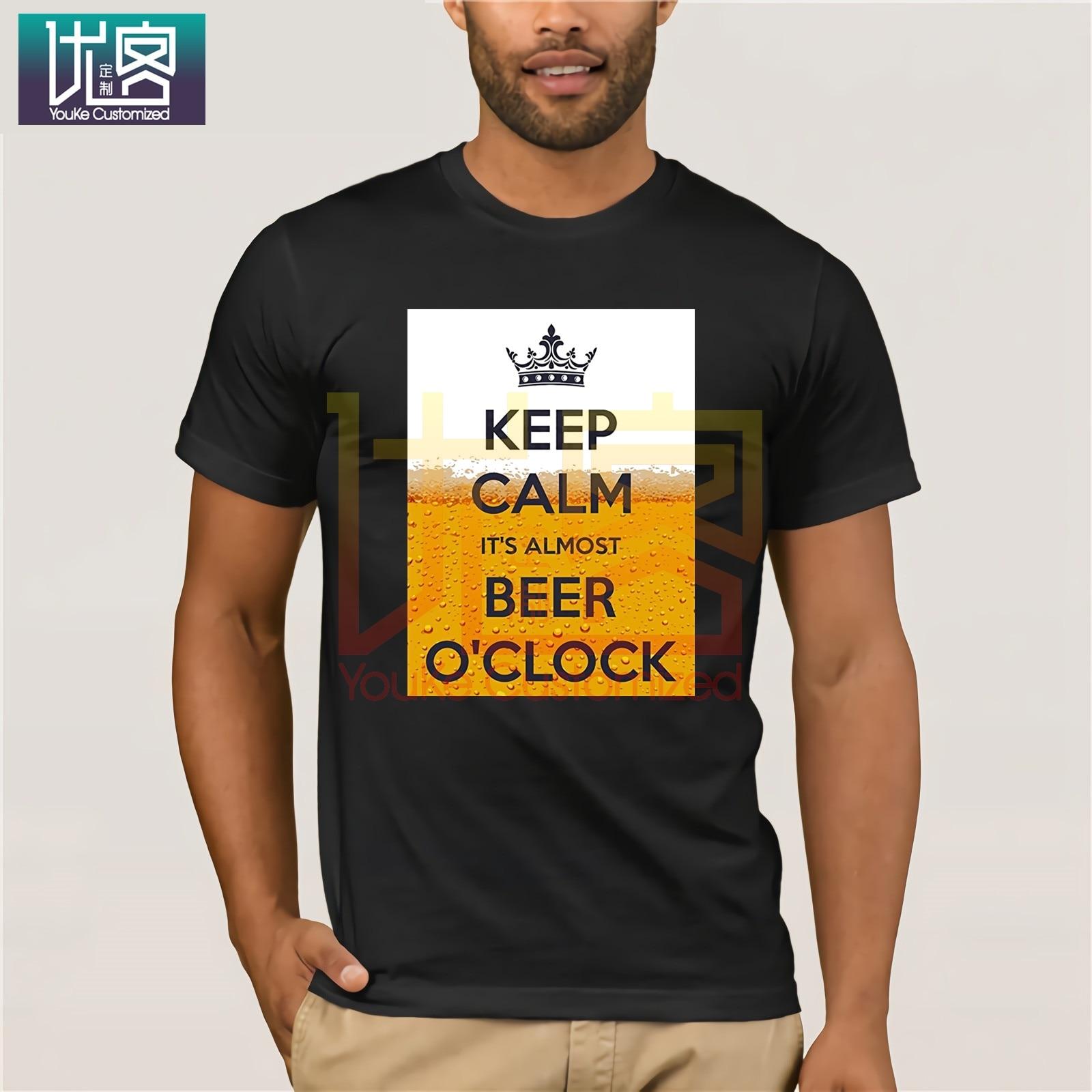 Camiseta de manga corta para hombre Keep Calm Its always Beer O Clock, camisetas casuales para hombre, máscaras, palabras, camisetas de Hip Hop, increíble Camiseta de manga corta única
