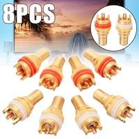 8pcs redwhite rca female socket chassis high quality rca cmc female connector phono copper plug amp hifi