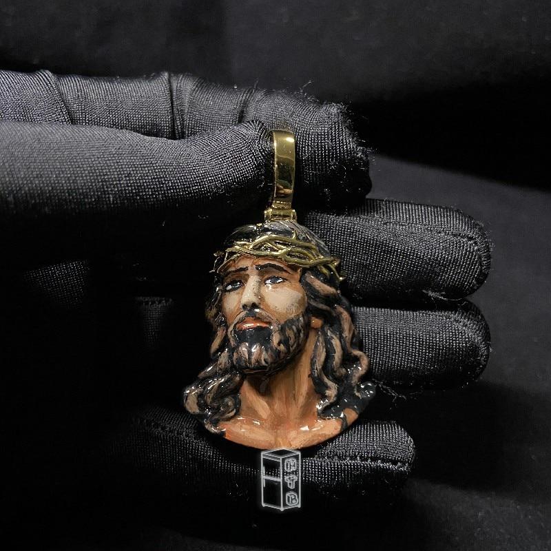 P&Y Custom Enamel Jesus Charm Hip Hop Lively Lifelike Head Portrait Enamel Pendant