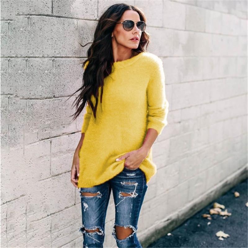 Suéter amarillo Vintage mujer pulóver Pull Femme cachemir invierno cálido mujer suelta manga larga moda Casual ropa de mujer
