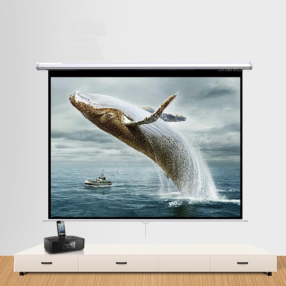 شاشة عرض يدوية قابلة للسحب 60 72 84 100 بوصة 16:9 HD عريضة شاشة عرض محمولة قابلة للسحب تلقائية القفل