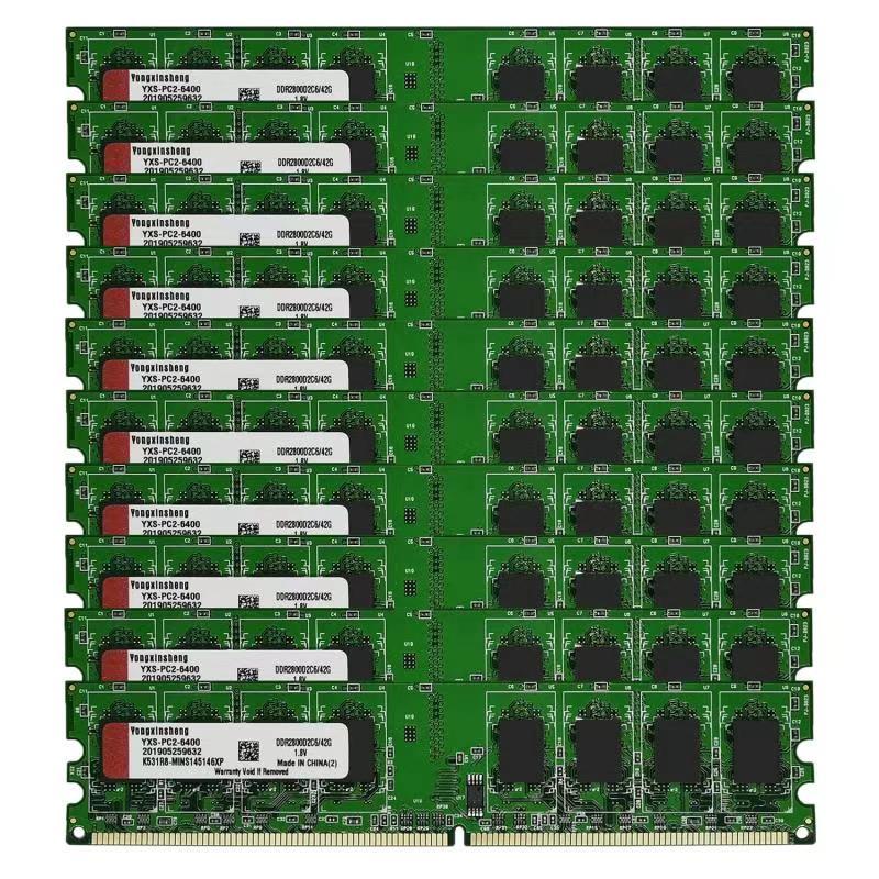 DDR2-Lote de 10 Uds. De 2GB, 800Mhz, PC2-6400 DIMM, RAM de escritorio,...