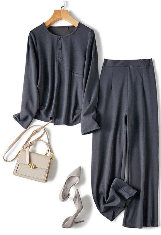 Damska garsonka 2021 jesień nowe modne szerokie spodnie do spodni odchudzanie Temperament Twinset odchudzanie odzież damska