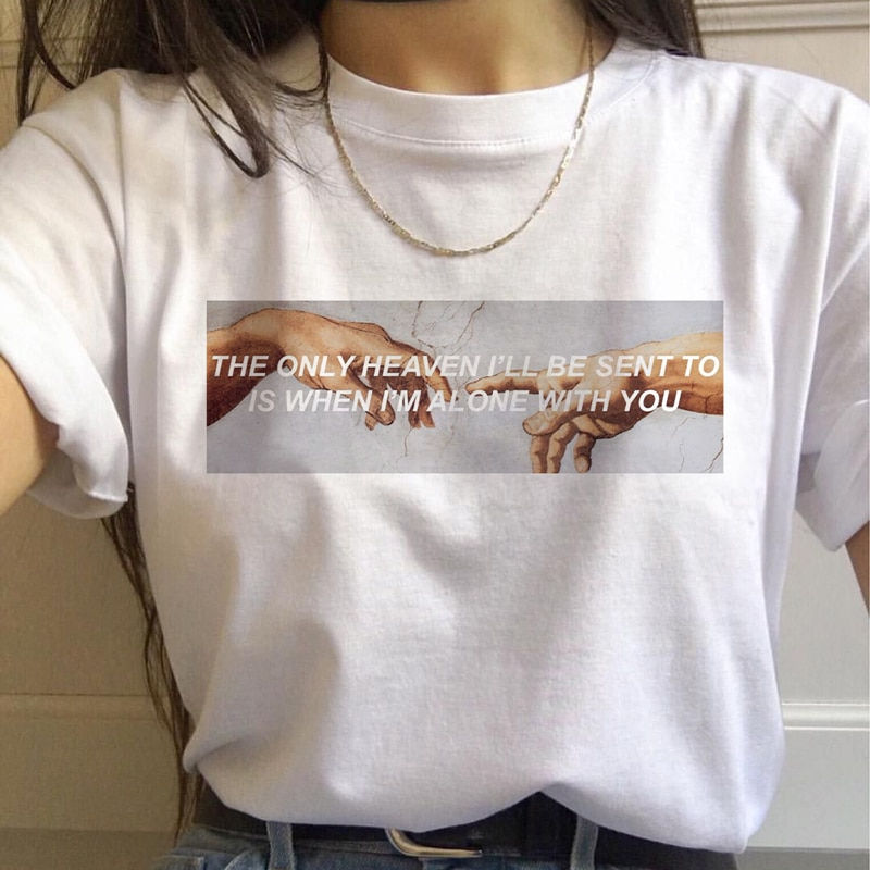 2020 New Heaven Hell Print T-shirt Women MICHELANGELO Harajuku Gothic Vintage Short Sleeve Tops Tees Casual Couple 90S Clothing