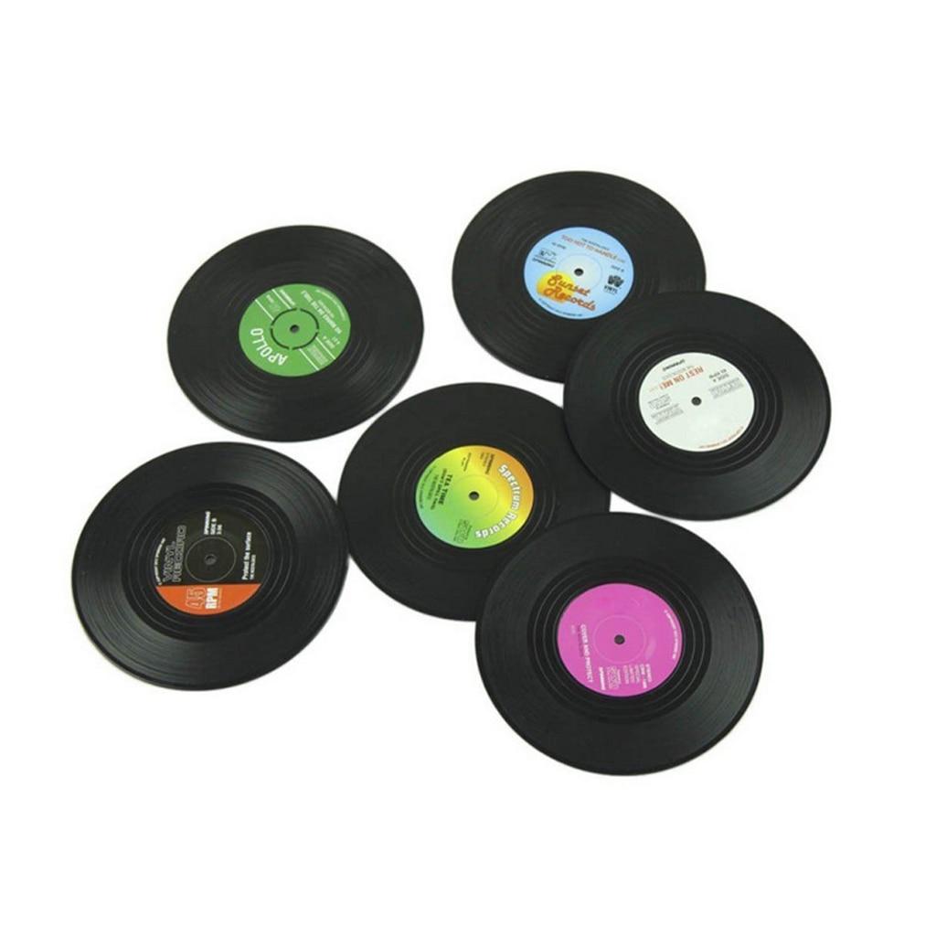 Posavasos redondo Vintage CD Vinyl 6 uds, posavasos con soporte para bebidas, Mantel Individual para mesa