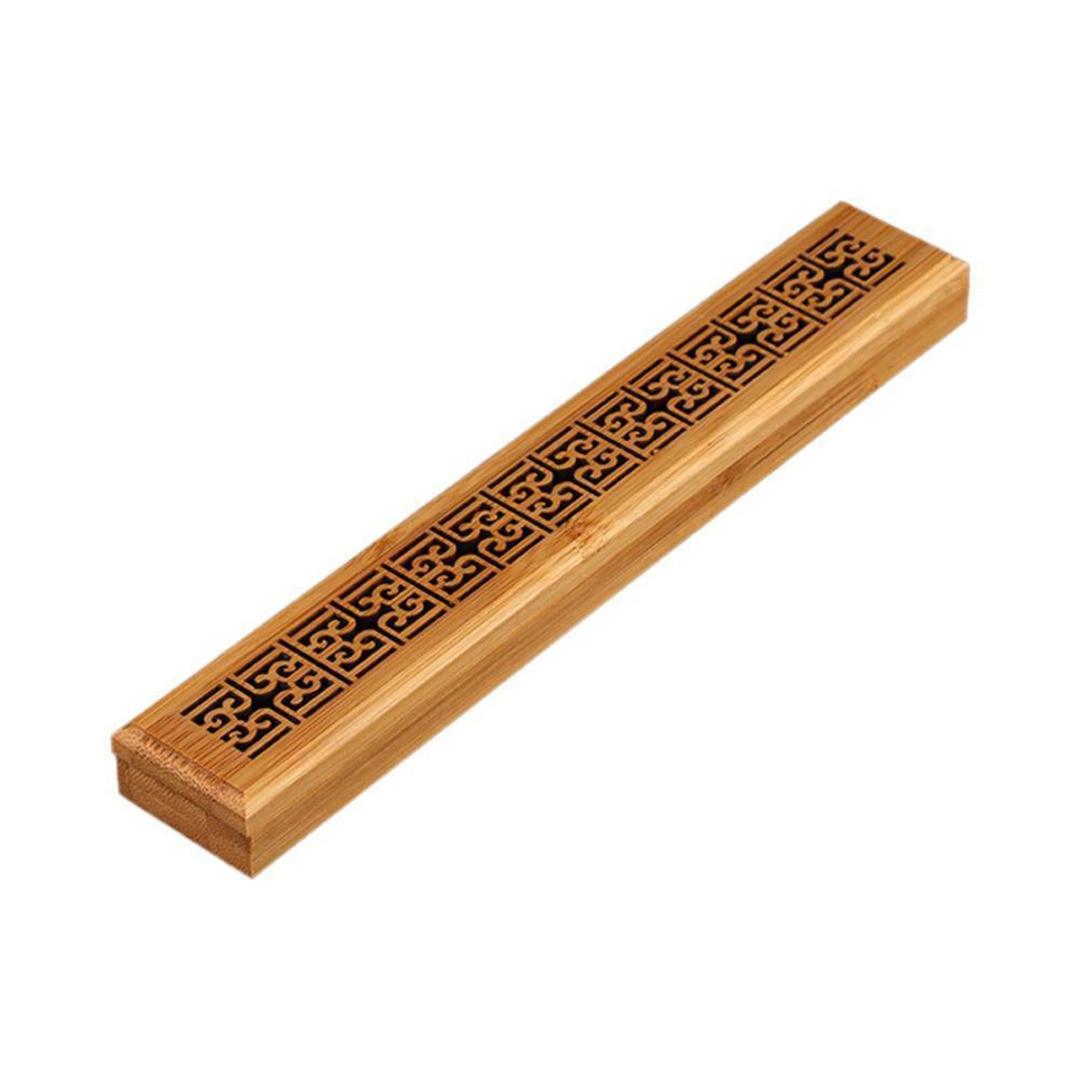 Soporte de bambú chino Insence flor hueco de madera Insense Burner Ash Catcher Insence Stick caja de almacenamiento caja de decoración del hogar artesanal