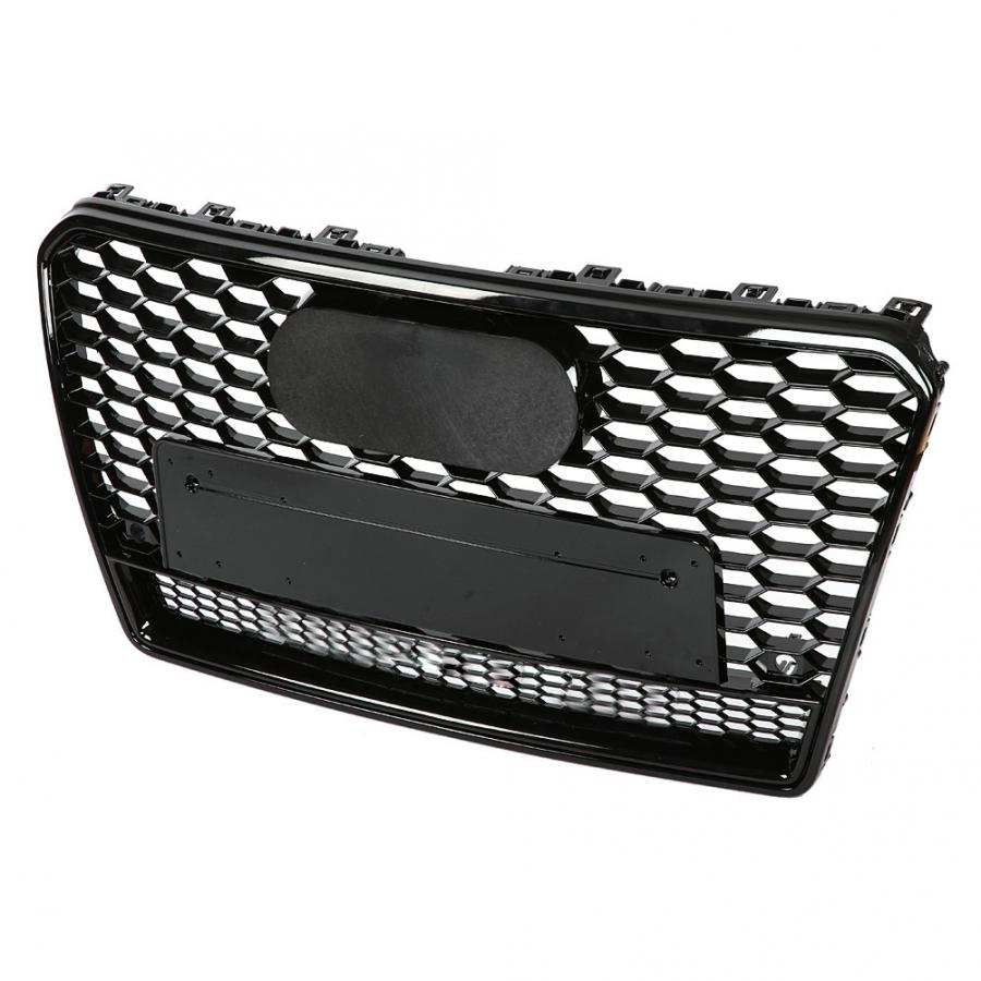 Para RS7 estilo frente deporte Hex malla panal HoodGrill negro brillante para Audi A7/S7 2011 2012 2013 2014 2015 caraccessorios