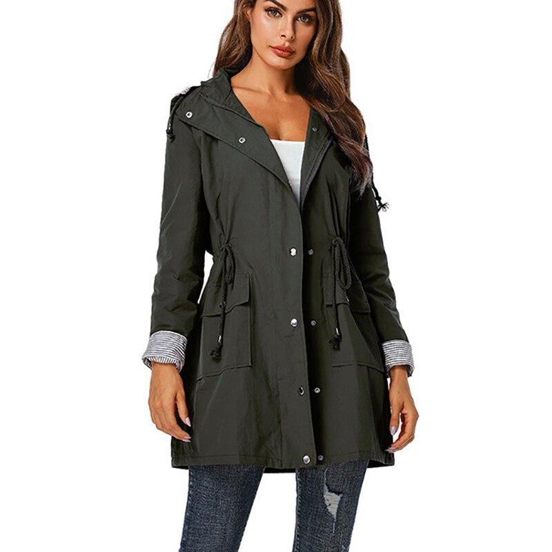 2019 Autumn Women Thin Coat Fashion Solid Hooded Waterproof Raincoat Female Zipper Long Windbreaker Outdoor Outwear Jacket