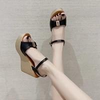 new design woman high heels 11cm wedges heightening sandals pu leather platform open toe backless sandalis metal buckle shoes
