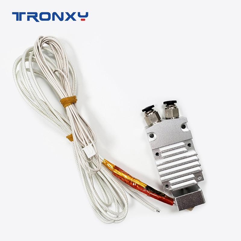 2020 Tronxy 3D Printer Parts 2 in 1 out J-head Aluminum Heat Block 0.4mm Nozzle 24V Heating tube 100K Thermistor for 2E printer