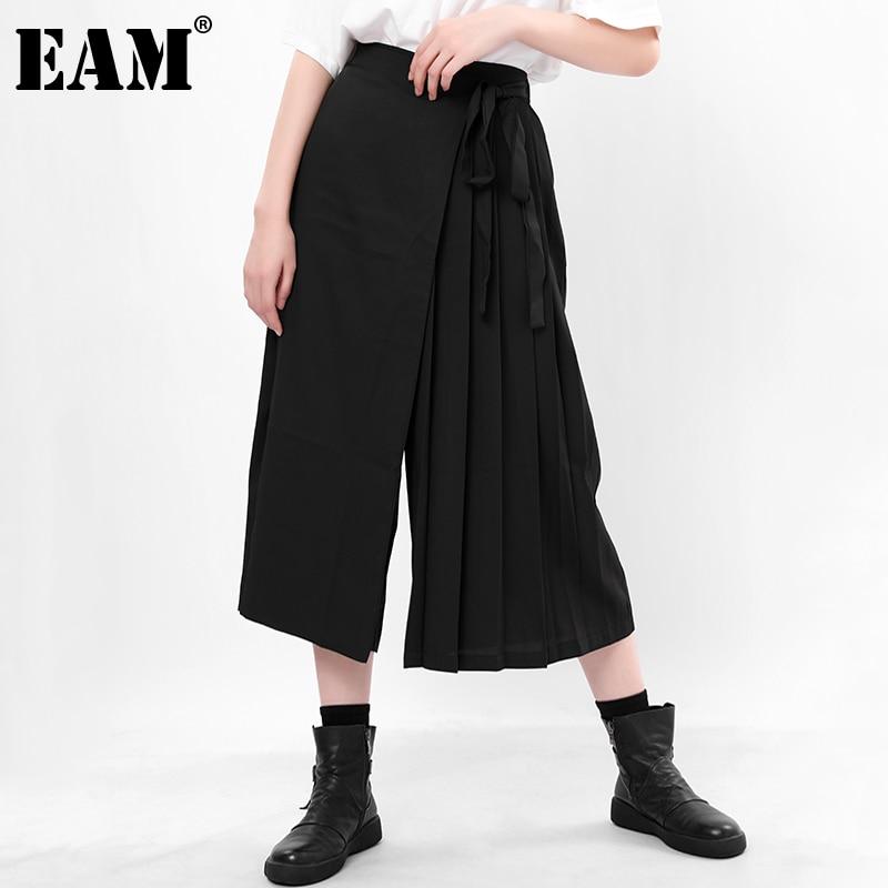 [EAM] بنطلون عالي المرونة وسط أسود مطوي غير رسمي واسع الساق سراويل فضفاضة جديدة تناسب النساء موضة ربيع الخريف 2021 1N66601