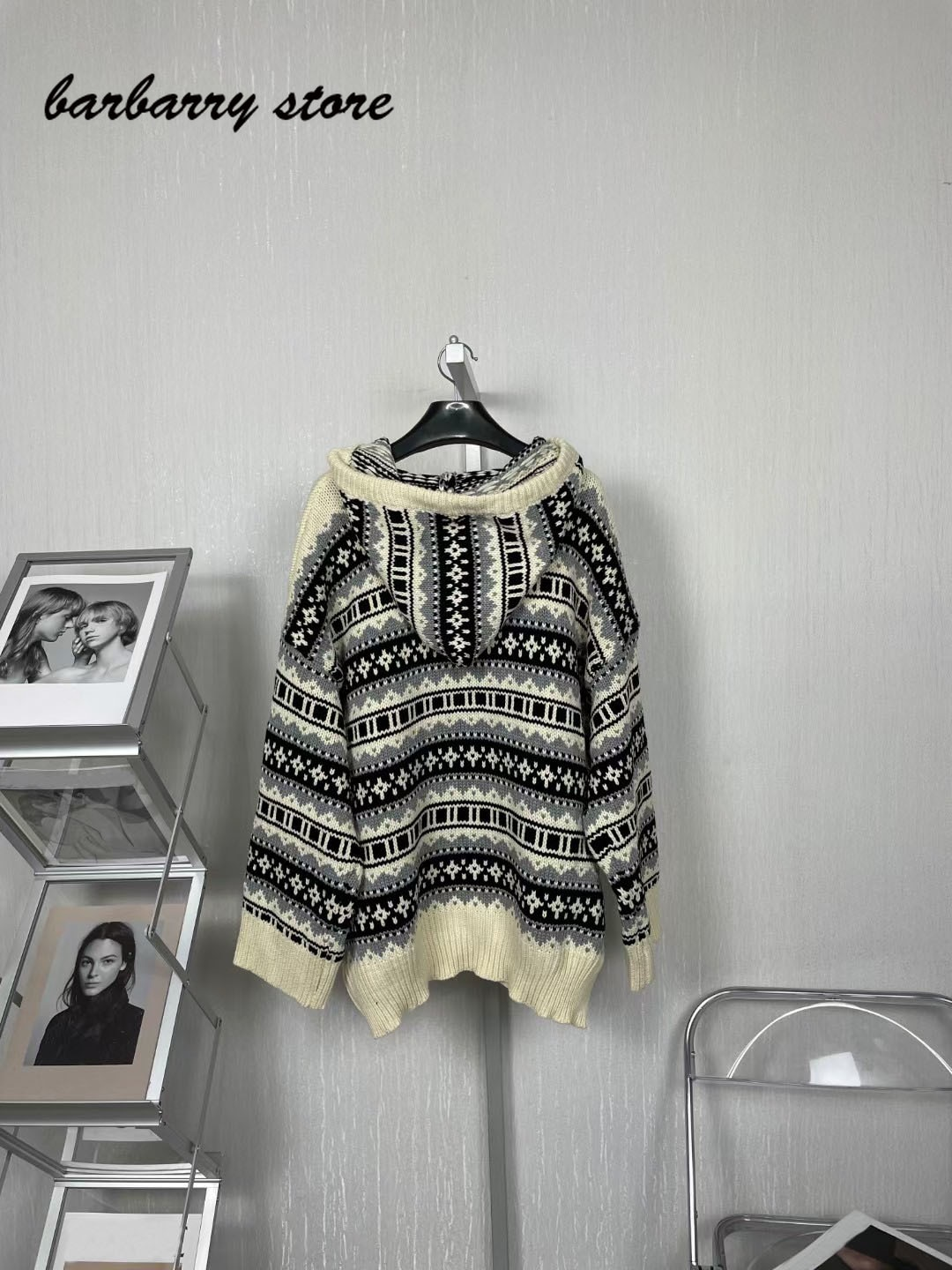 21 luxury brand contrast jacquard printing fashion women's top versatile hooded tassel loose casual long sleeve Pullover Sweater enlarge