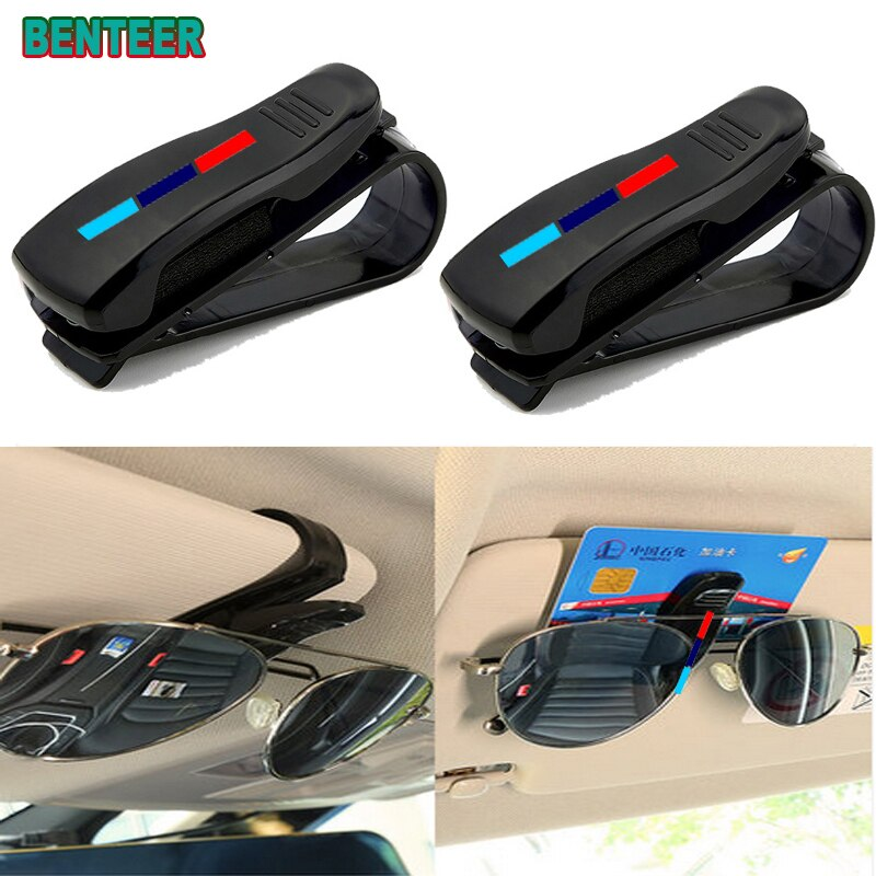ABS Portable Car Glasses Cases Ticket Card Clamp Car Sun Visor Sunglasses Holder for BMW  Mperforman
