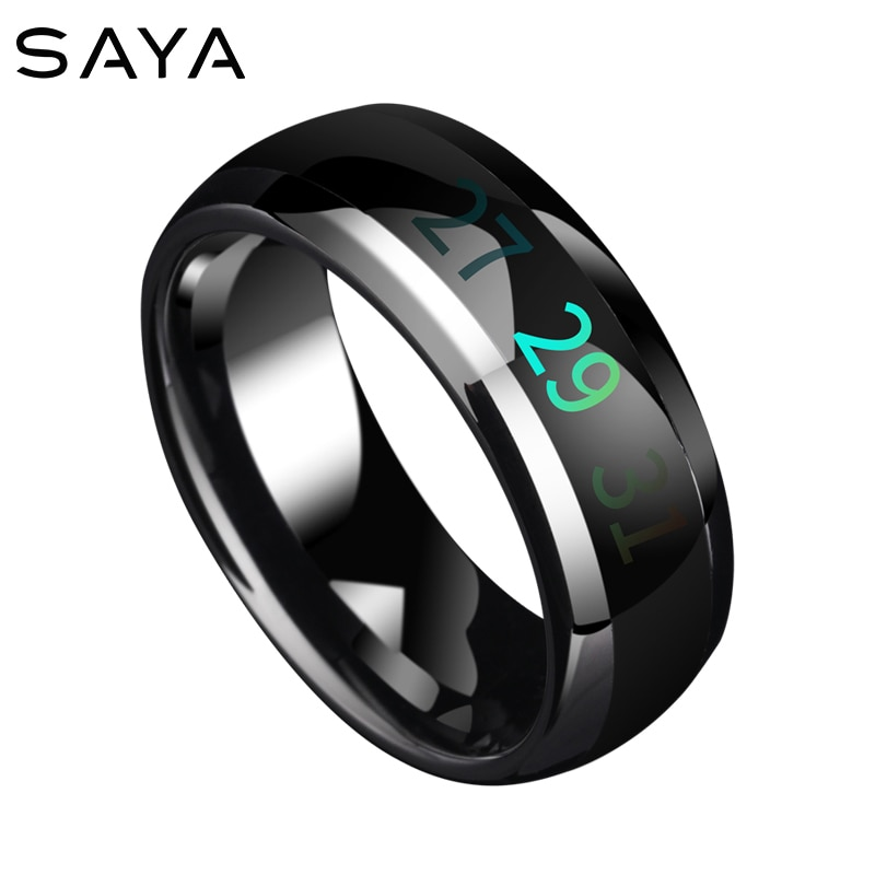 Temperatura inteligente tungstênio junta anéis masculinos mudança de cor humor anel mão jóias, frete grátis, personalizado