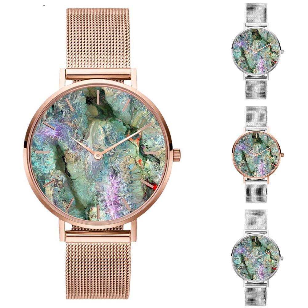 Correa de malla de acero inoxidable Coral Shell reloj de pulsera de cuarzo a la moda para mujer regalo relojes de vestir para mujer regalo de lujo