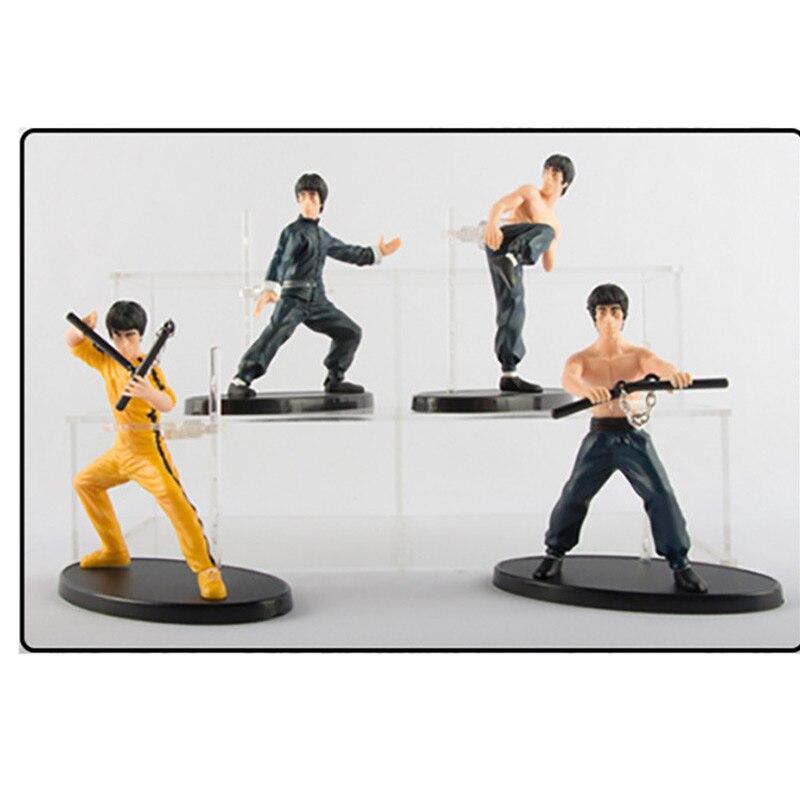 10cm 2 tipos pçs/set 4 Bruce Lee The Forbidden Kingdom Souvenir Edição Modelagem De Kung Fu PVC Figura Collectible Toy Modelo